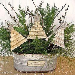 Easy Shabby Christmas Centerpiece with Folded Tree Tutorial