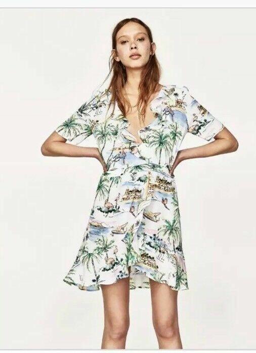 c47d279fdadc ZARA ACCESSORIES Hawaiian Tropical Wrap Dress Size S Ruffle White Green  Blue 49P #Zara #WrapDress #Casual