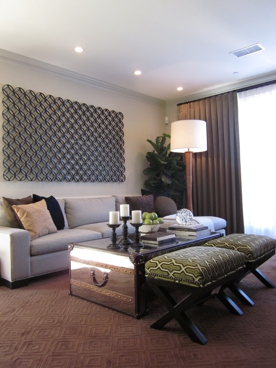 Green And Neutral Colour Scheme Contemporary Family Room By Design.an Old  Trunk In A Contemporary Living Room.
