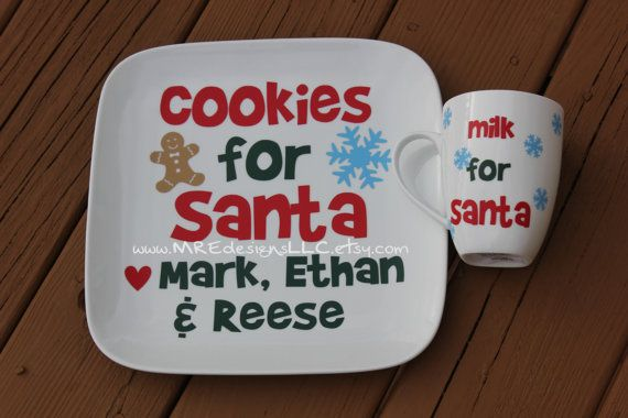 Christmas Personalized Cookie And Milk For Santa Plate And