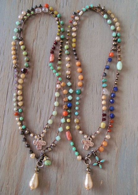 colorful, long beaded wrap necklaces