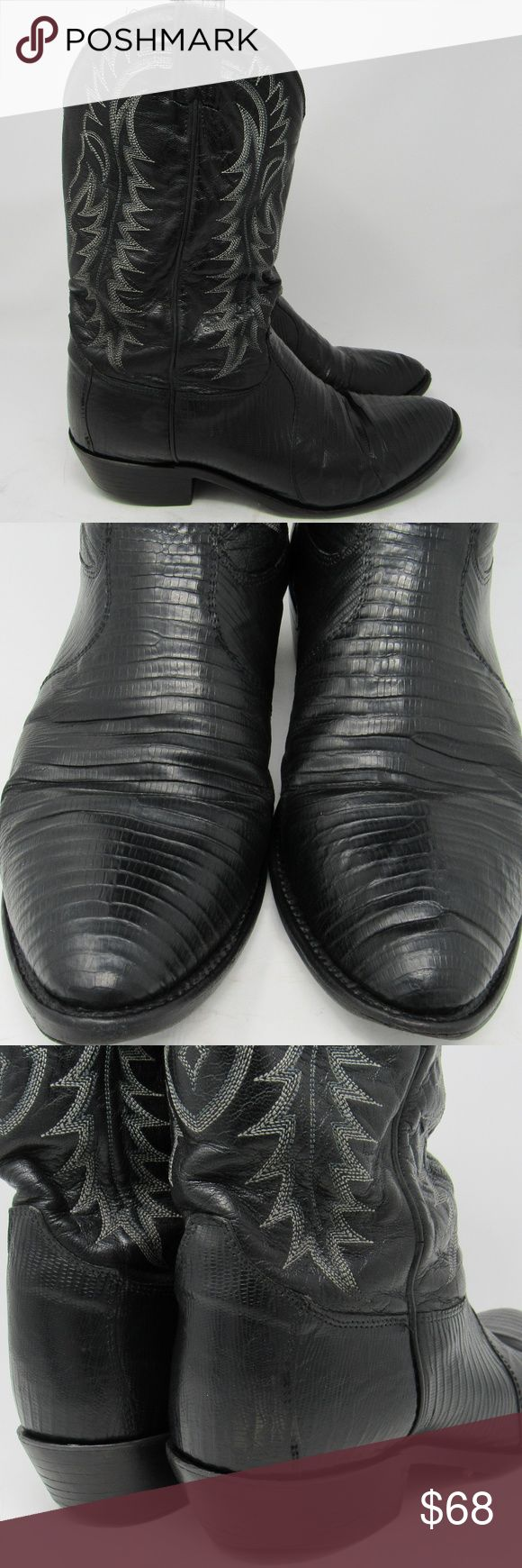 Tony Lama snakeskin cowboy boots men 10 1/2EE Made in the USA Tony Lama Y2061. Black, traditional snakeskin cowboy boots. The snakeskin is in good shape but note some creasing to the foot and shaft. Also note the replacement Soletech half sole and the wear to the heels. They're solid but wearing down. I've featured that in the pictures. Please give them a good look to be comfortable with color and condition.  180150 Tony Lama Shoes Cowboy & Western Boots