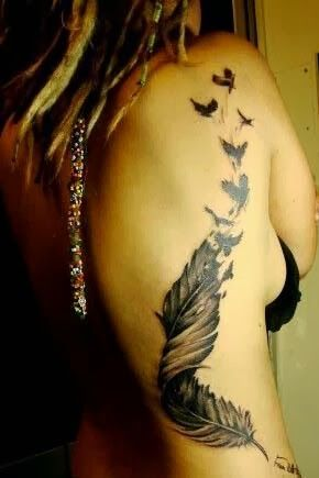 I live these feather tattoos with birds breaking off from them