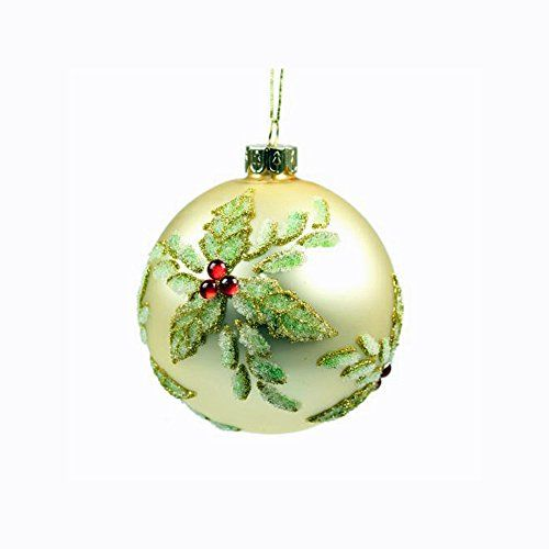 Gold With Holly Glass Christmas Bauble Christmas Tree