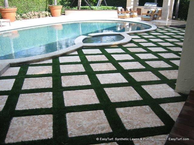 FieldTurf Grass Strips Between Pavers In Pool Deck. Beautiful Appearance,  Withu2026