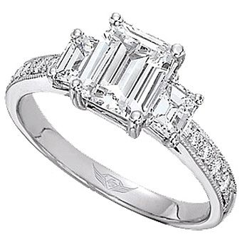 This Stylish Three Stone Engagement Ring Setting By Martin Flyer Features Two Emerald Cut Side Diamonds