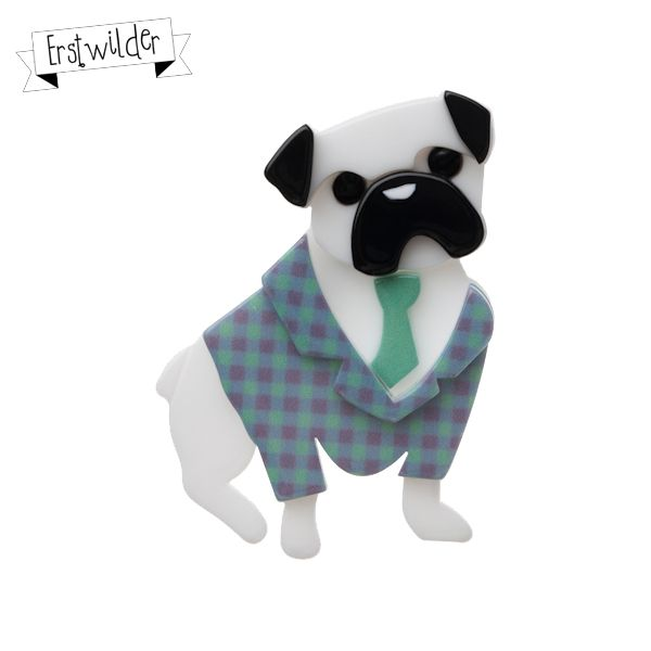 """Pete the Pug Resin Brooch (Mint) - """"All Pete Pug wants to do is to always have dinner forever with you!"""""""