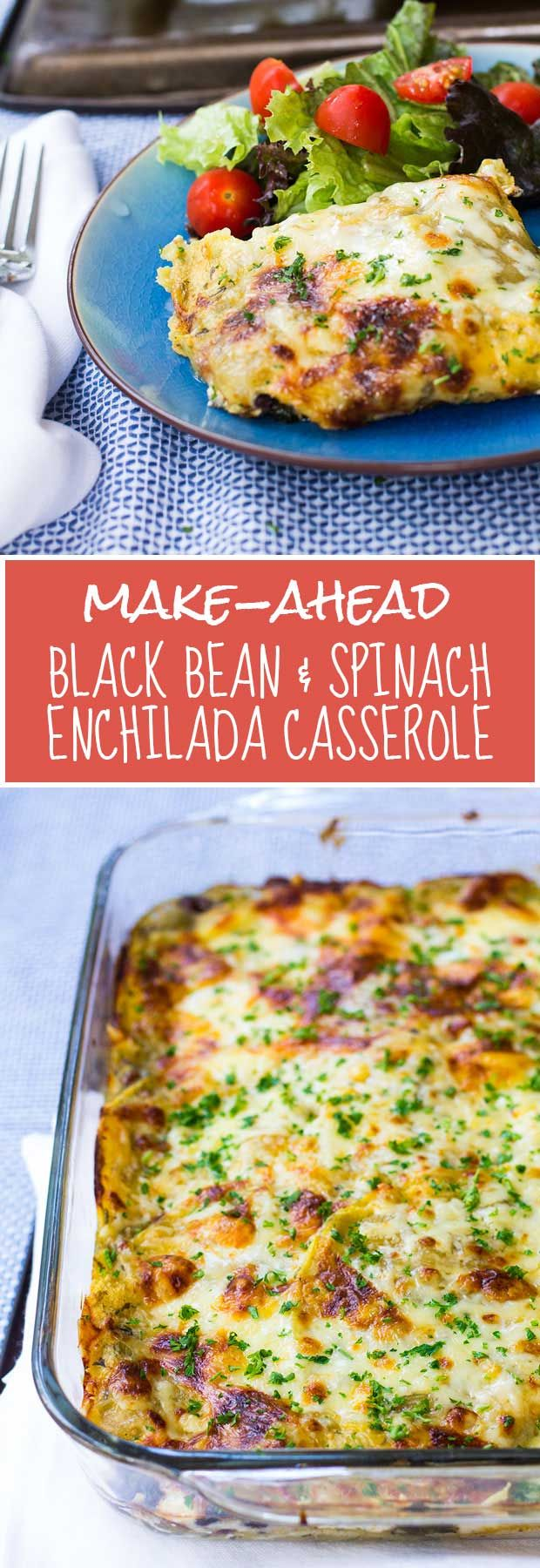 Make-Ahead Black Bean & Enchilada Casserole -- an easy, gluten-free, healthy, kid-friendly make-ahead meal! | www.kiwiandbean.com