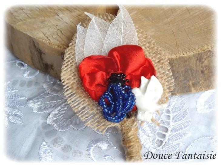 Broche coquelicot colombe bleuet toile de jute boutonnière mariage champêtre rustique : Broche par douce-fantaisie