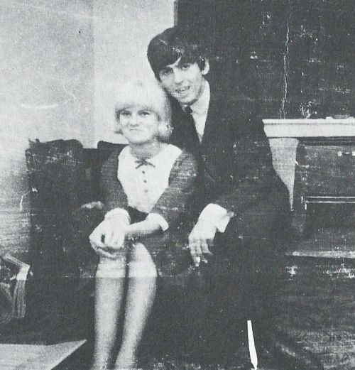 Bernadette Farrell and #GeorgeHarrison in the living room of her parents' house in Liverpool, photographed by her brother. She was the girlfriend George left behind when Beatlemania swept him away to London in 1963,she was a hairdresser who first saw the Beatles perform in 1961.