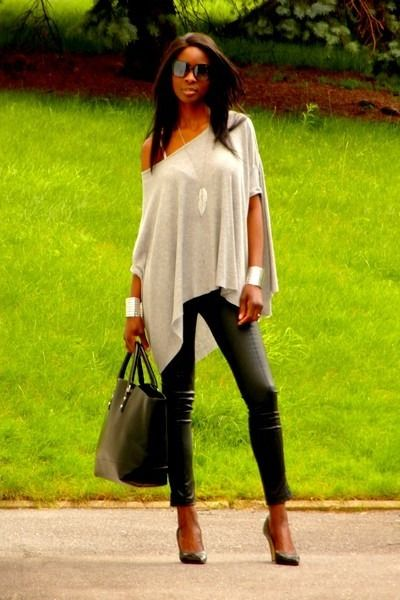 Leather pants & loose top
