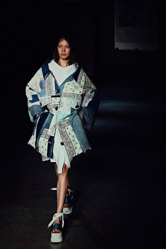 Patchwork bandana and denim coat at MM6 Maison Martin Margiela SS15 NYFW. More images here: http://www.dazeddigital.com/fashion/article/21608/1/mm6-maison-martin-margiela-ss15-live-stream