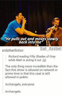 Richard reading Fifty Shades of Grey while Matt is acting it out. #Supernatural cast