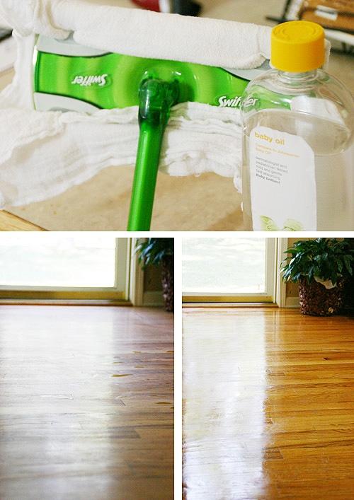 Baby oil as wood floor polisher.