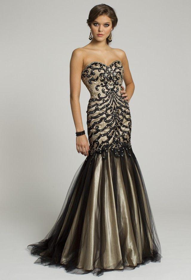 group usa prom dresses  mesh mermaid long
