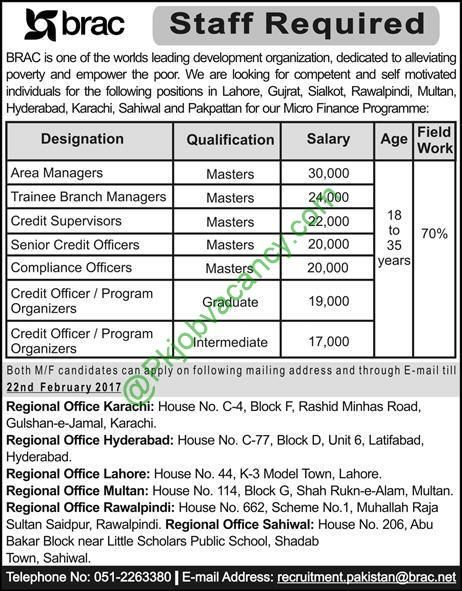 Staff Required In BRAC Pakistan Sunday Newspaper Job 22 January 2017
