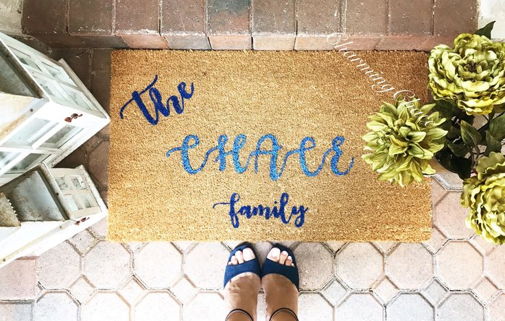 Outdoor personalized coir welcome mat rug for classy home decor or wedding gift for a new home by CharmingChace on Etsy https://www.etsy.com/listing/527118985/outdoor-personalized-coir-welcome-mat