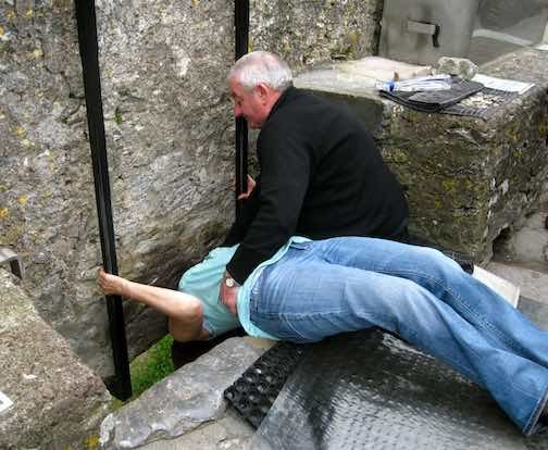 According to legend, kissing the Blarney Stone endows the kisser with the gift of the gab (great eloquence or skill at flattery).