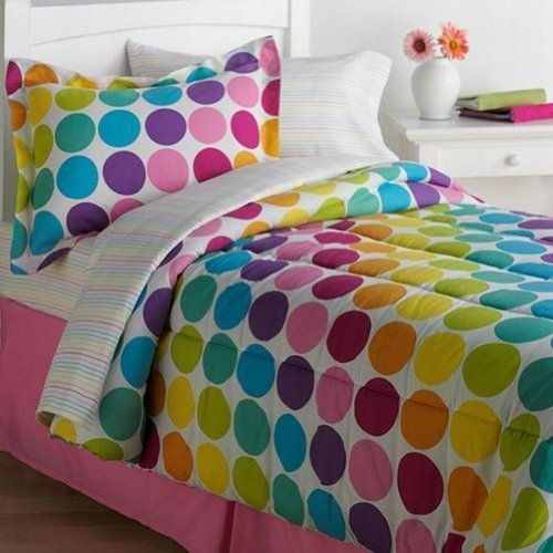 The Big One King 8 Piece Bed In Bag Set Colorful Polka
