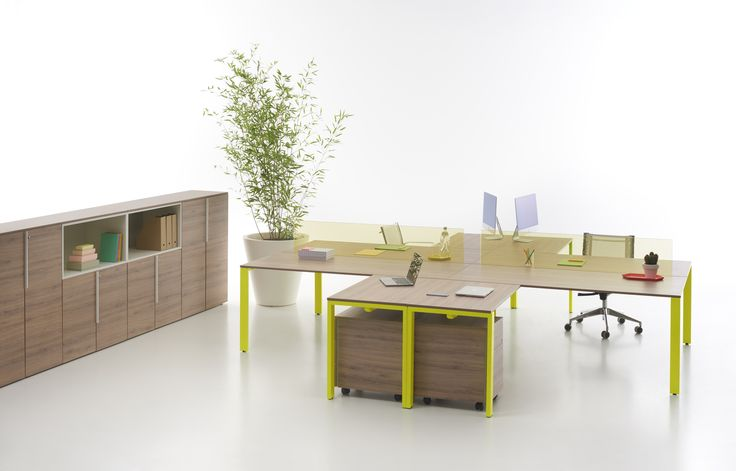 You Eco table with dark larch top and fluorescent yellow structure + You Eco Cupboard with dark larch panels #focusoncolor
