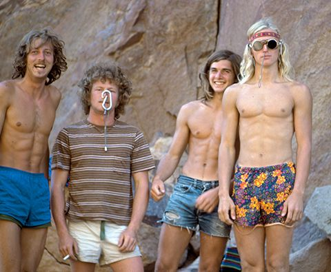 Werner Braun, Jim Pettigrew, Ron Kauk, and John Bachar. Four of Yosemite's notorious pranksters goof off in the Valley.  Photo: Paul Sibley #itsallaboutstyle #badasspic
