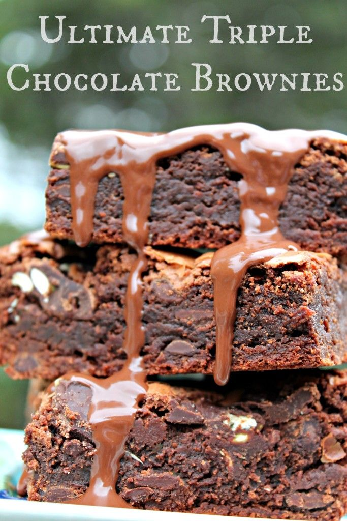 These ULTIMATE TRIPLE CHOCOLATE BROWNIES are a chocolate lover's dream come true!
