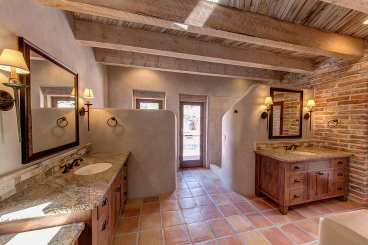 Southwestern Master Bathroom with Exposed beam, terracotta ...