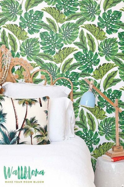 Transform any room in your home into a tropical paradise with this self-adhesive vinyl MONSTERA LEAVES pattern removable wallpaper!