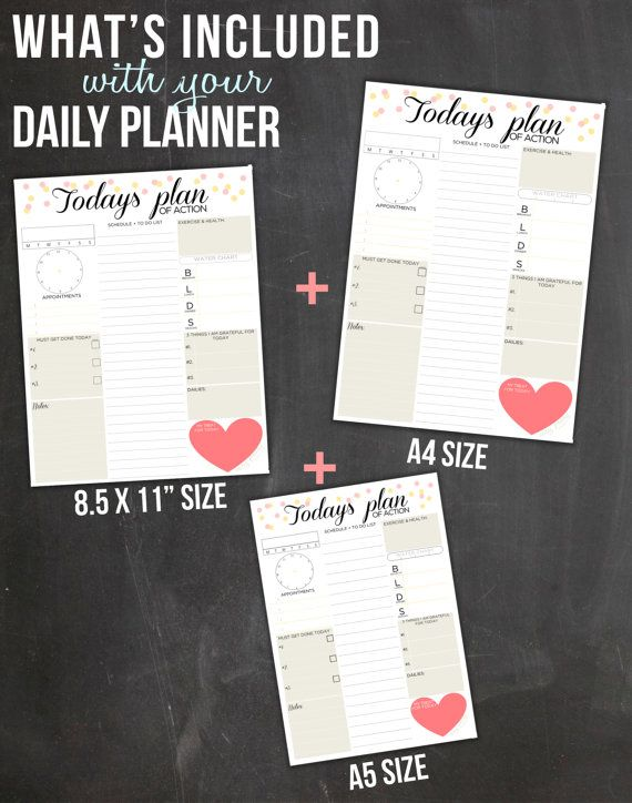Daily Planner Printable Day Organizer A4 Daily door EasyPeasyPaper