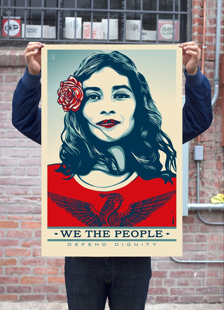 "Shepard Fairey / ObeyGiant.com via Amplifier Foundation: ""Trump is not a healer. Art, on the other hand, is healing and inclusive, whether topically it celebrates humanity, or whether it's just compelling visuals to make a human connection."""