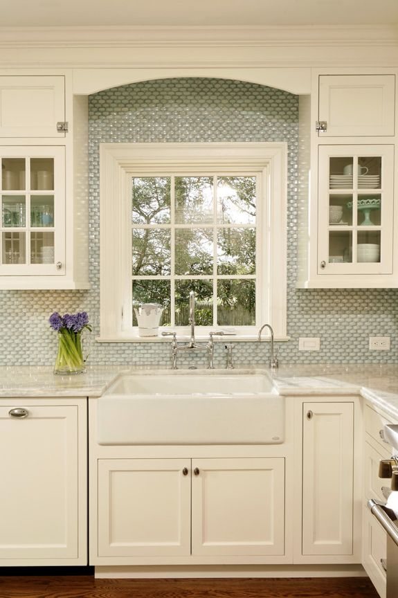 Apron Front Sink- House of Turquoise: Idea, Glasses Tile, Kitchens Design, Window, Traditional Kitchens, Back Splash, Kitchens Backsplash, Farmhouse Sinks, White Kitchens