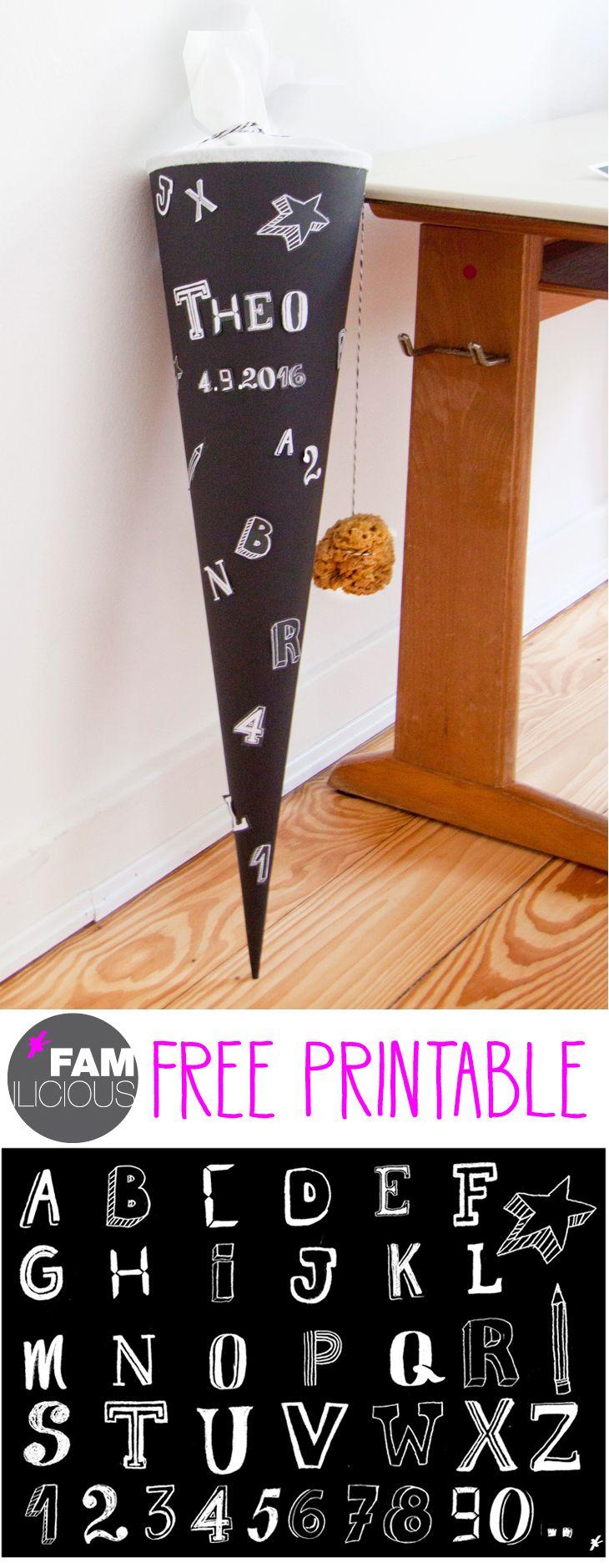 Free Printable: Die Schultüte für Jungs und Mädchen im coolen Schwarz Weiß Look…