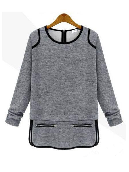 Women Cotton T-shirt Zipper Decorated Long Sleeve Bottom T-shirt