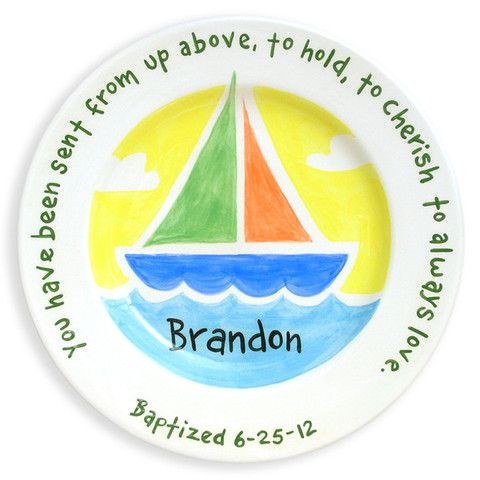 172 best personalized baby gifts images on pinterest colors sailboat hand painted ceramic plate handmade baby giftspersonalized negle Image collections
