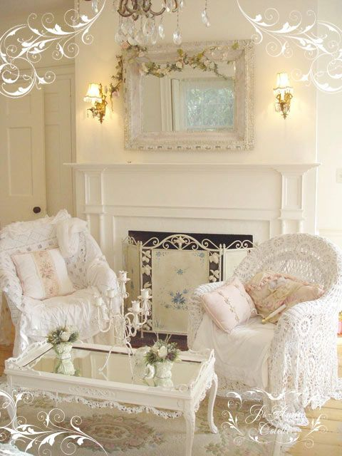 Wicker chairs with lace draped over them