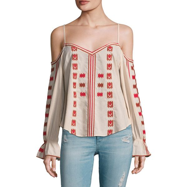 Love Sam Women's Cotton Embroidered Cold Shoulder Blouse - Size L ($79) ❤ liked on Polyvore featuring tops, blouses, multi, open shoulder blouse, open shoulder top, cut-out shoulder tops, open back blouse and flare sleeve blouse