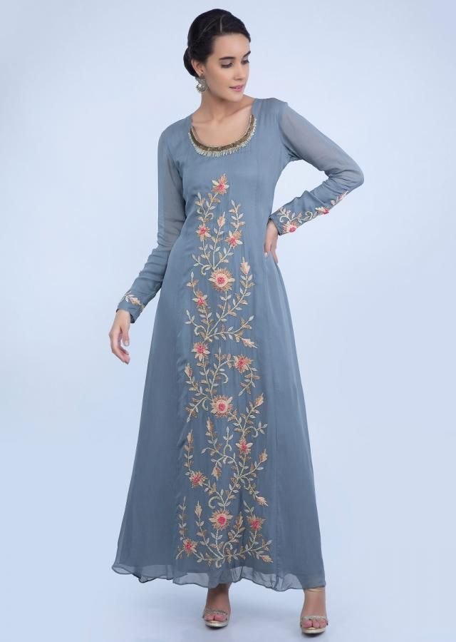 407f15db3 Grey front panel embroidered tunic dress with frilled layer long jacket only  on Kalki