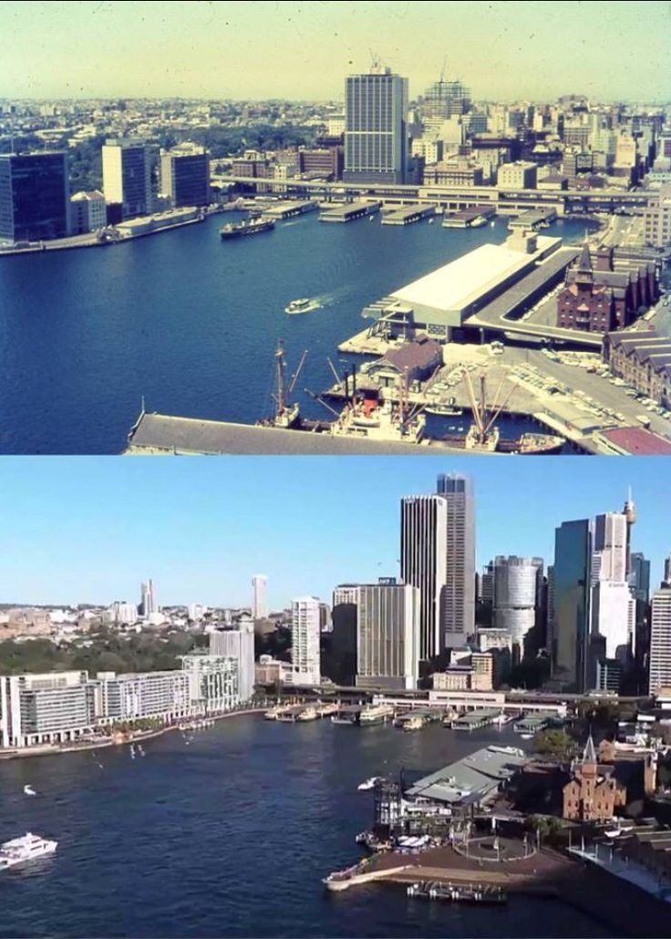 Sydney viewed from the Harbour Bridge south east pylon lookout in circa 1962 and 2013. [circa 1962 - Pat Horton-NSW Department of Health/2013 - YouTube/Zahin Asyraf. By Phil Harvey]