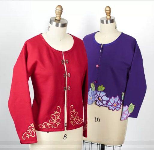 Beautiful embroidery on fleece sweatshirt jackets