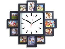NEW BLACK HANGING MODERN 12 MULTI PHOTO FAMILY PICTURE FRAME & TIME WALL CLOCK