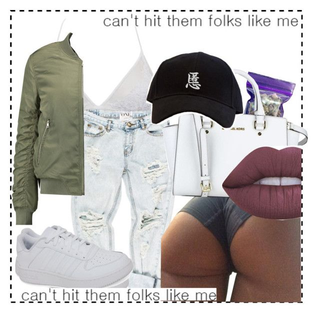 """""""hit the folk like me 💯"""" by yungbeckyy ❤ liked on Polyvore featuring OneTeaspoon, INC International Concepts, MICHAEL Michael Kors, adidas, W118 by Walter Baker and Lime Crime"""