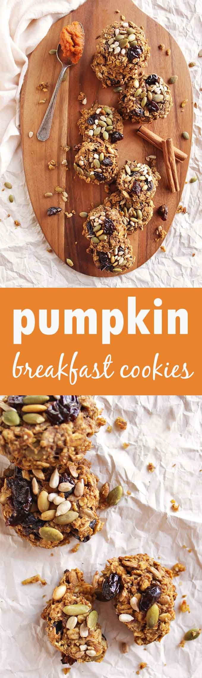 Pumpkin breakfast cookies are packed with nutrient dense ingredients to give you energy. They are made with REAL pumpkin. and packed with all those warming spices. Perfect fall recipe! (gluten free/vegan/dairy free) | robustrecipes,.com