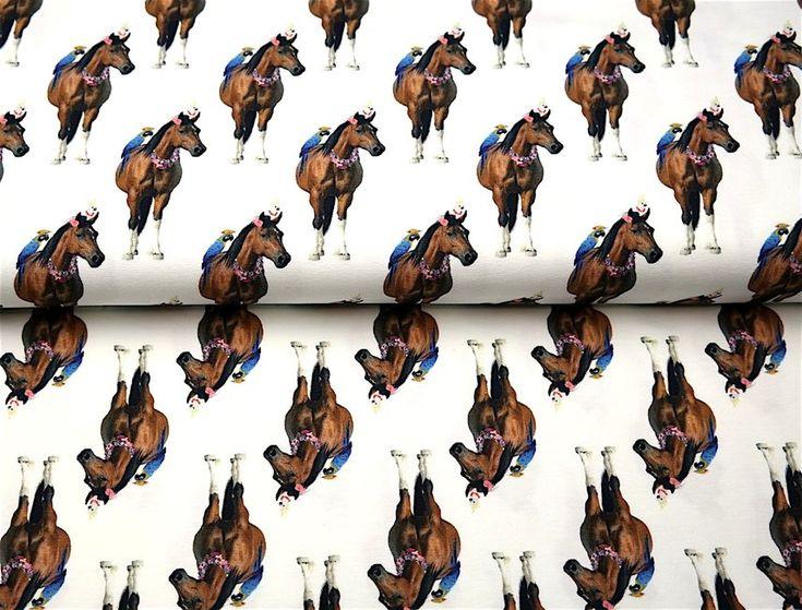 Stenzo18 11208-02 Tricot digitaal paard/papegaai wit/multi