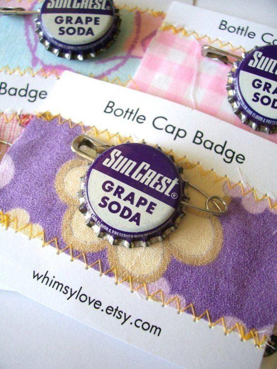vintage grape soda bottle cap badge
