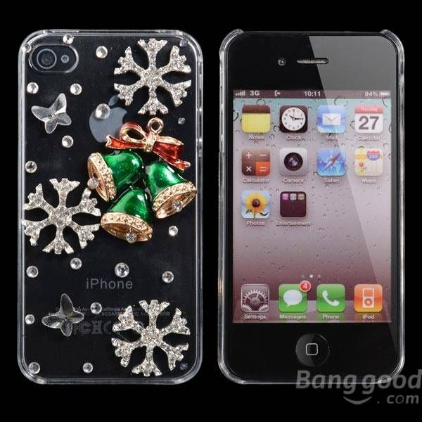 Christmas Handmade Bling Christmas bell Shape Case For iPhone 4 4S…