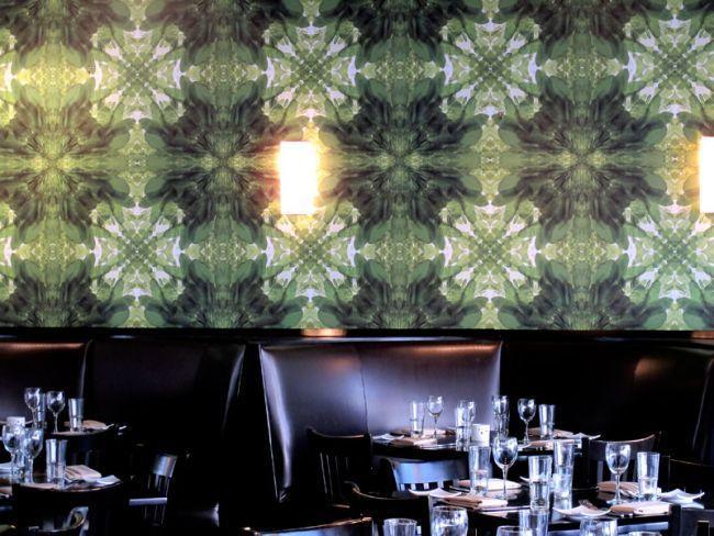 Funky wallpaper designed for Eden Restaurant in South Beach by Astek designer Kerry Hyatt. Eden Restaurant South Beach | Astek Inc.