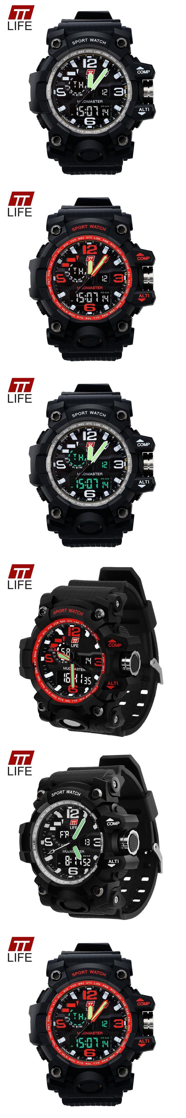 TTLIFE Men Popular LED Display Watch 30M Waterproof Sports Watch Fashion Military Army Large Dial Analog Digital Wristwatch
