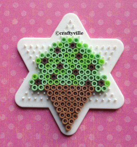 food desert mint chocolate chip ice cream cone perler bead patterns