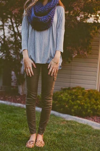 Women's Fashion navy blue infinity scarf gray tee army green pants cheetah print shoes