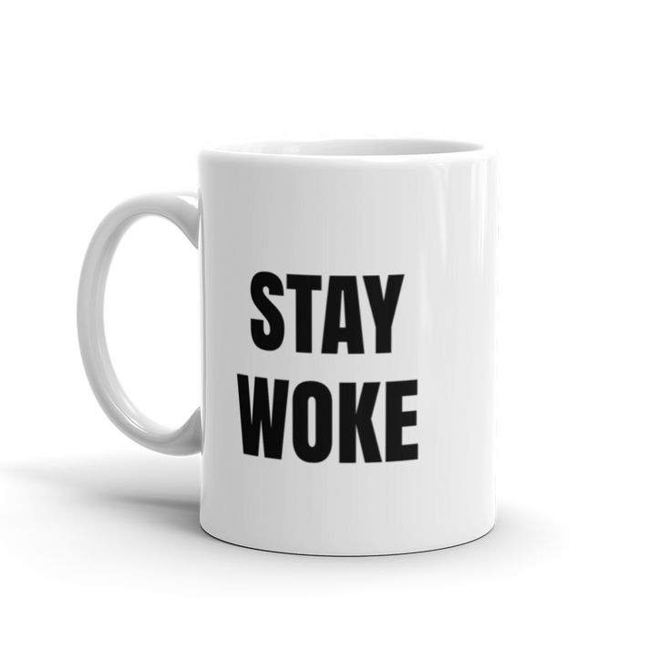 "GLOSSRAGS' Stay Woke mugs are emblazoned with the Adinkra symbol, Epa,  which symbolizes law, order, slavery & captivity. A Twi proverb states,  ""You are a slave to whose handcuffs you are wearing.""  They say slavery ended in 1865 when it was abolished yet it seems as though  we a"